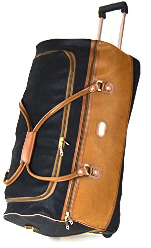 high-quality-black-tan-synthetic-suede-travel-luggage-wheeled-trolley-cases-holdall-suitcase-duffle-
