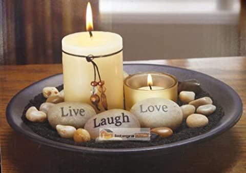 Glass Votive Candle Holder Set With Stone & Rock &