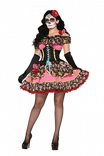Damen-Kostüm Day of the Dead Seniorita mit mexikanischen Totenköpfen - Kurzes Kleid, (Petticoat Karneval Kleid)