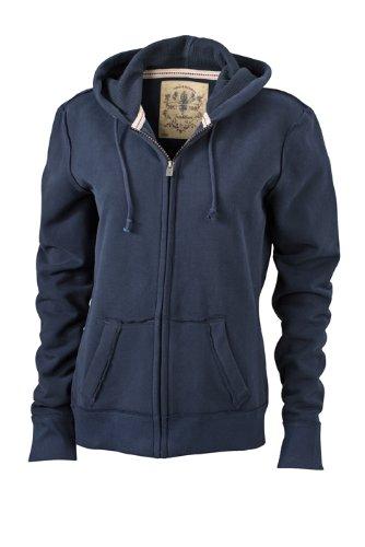 James & Nicholson Damen Sweatshirt Kapuzenjacke Ladies' Vintage Hooded Sweatshirt Navy