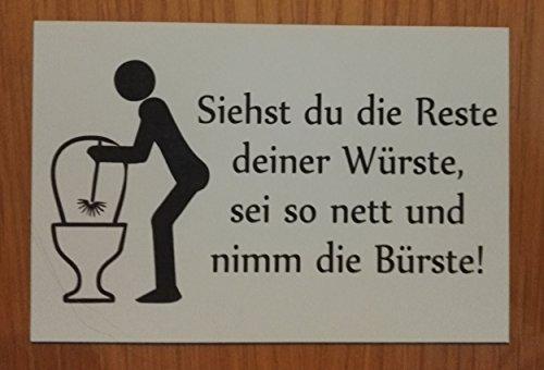 Toilettenschild Lustiges Schild WC Toilette sauber halten Klebeschild (Weiß)