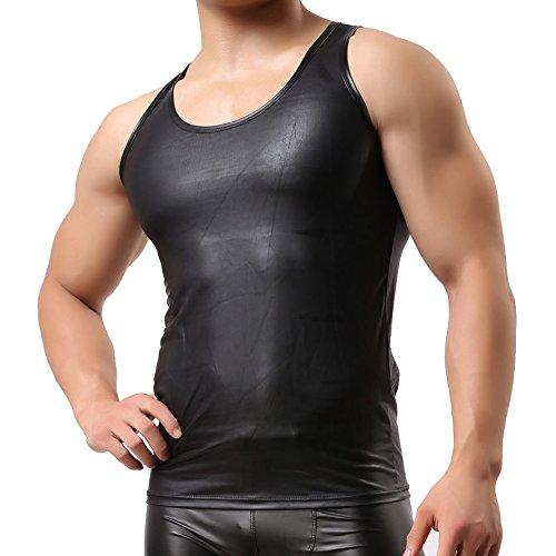 YFD Herren Weste Unterhemd Tank Top Faux Leder Schwarz Ärmelloses T Shirt Nachtwäsche Schwarz