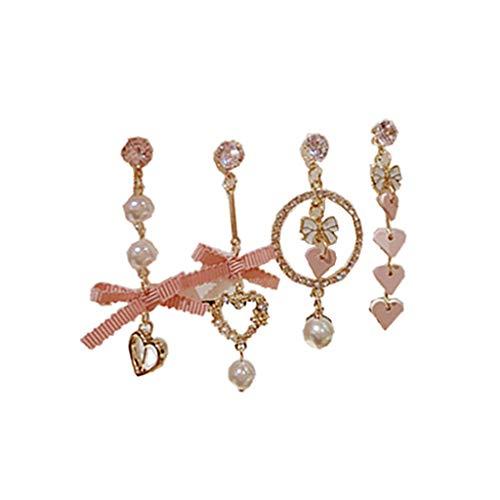 Ruda - Pendientes de tuerca hechos a mano con perlas y diamantes de imitación para mujer