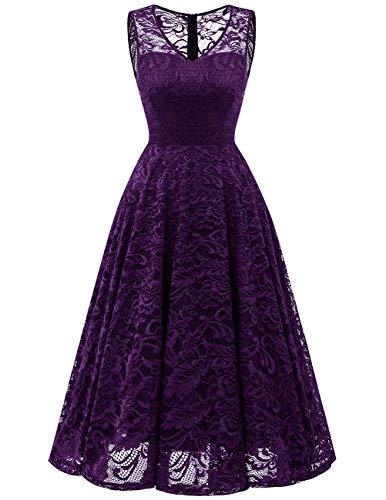 Meetjen Damen Elegant Spitzenkleid V-Ausschnitt Unregelmässig Vokuhila Kleid Festlich Cocktail Abendkleid Midi Grape 2XL