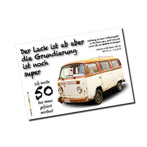 Einladung Einladungskarte lustig Geburtstag (50 Stück) Alter Bus