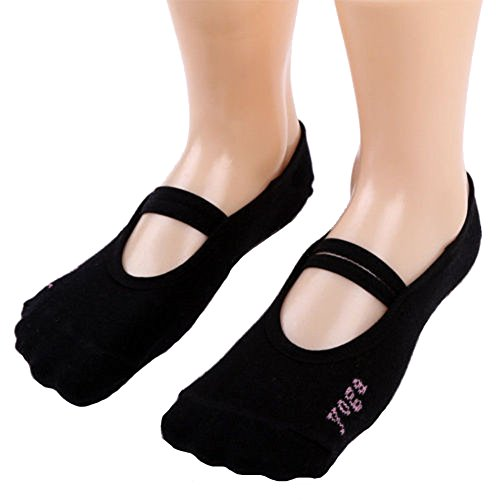 CHRONSTYLE paire Ballet Socks Grip pour Dance Yoga Pilates Barre Taille unique Noir