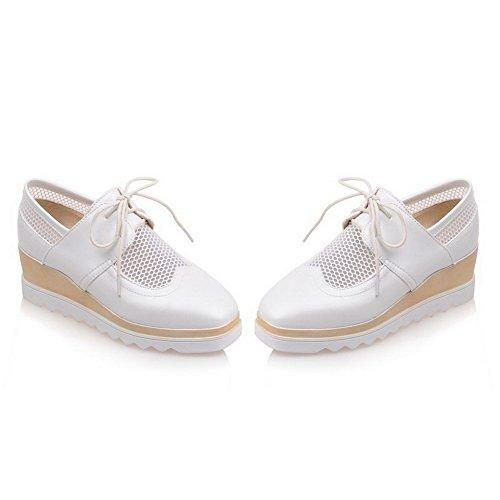 AgooLar Femme Lacet à Talon Correct Pu Cuir Couleur Unie Carré Chaussures Légeres Blanc