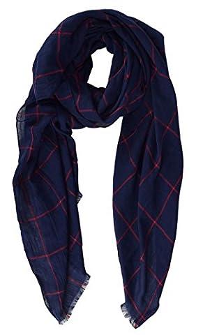 Peach Couture Unisex Plaid Stripe Checkered Pattern Lightweight Eyelash Fringe All Seasons Scarf