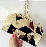 Pnizun - Mode Handtaschen-Frauen-Metallkupplungen Top-Qualität Hexagon Mini-Party-Schwarz-Abend-Geldbeutel-Silber-Taschen Gold-Box Clutch 3 Farben [Gold ]