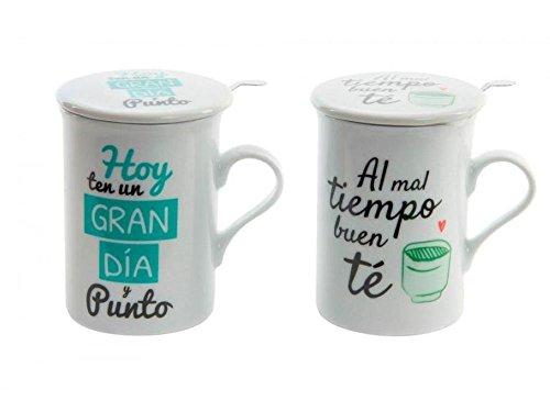 dcasa - Tazas con filtro y tapa diseño original frases positivas (Set