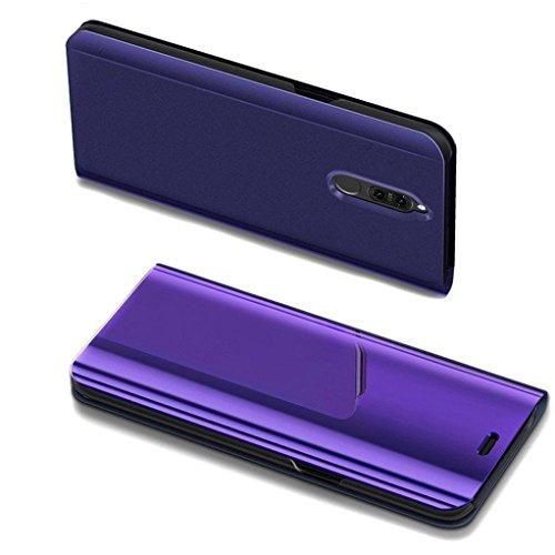 COTDINFOR Huawei Mate 10 Lite Spiegel Ledertasche Handyhülle Cool Männer Mädchen Slim Clear Crystal Spiegel Flip Ständer Etui Hüllen Schutzhüllen für Huawei Mate 10 Lite Mirror PU Purple MX.