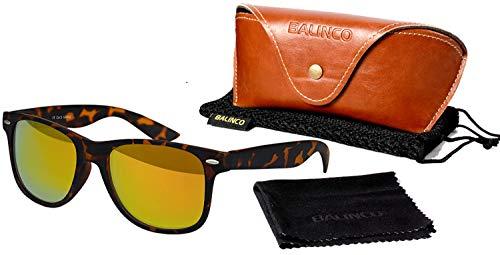 Balinco Hochwertige Polarisierte Nerd Rubber Sonnenbrille im Set (24 Modelle) Retro Vintage Unisex Brille mit Federscharnier (Leo-Fire)