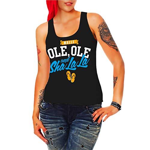 Frauen und Damen Trägershirt Mallorca 2019 Malle Ole Ole und Sha la la (mit Rückendruck) Größe XS - 3XL