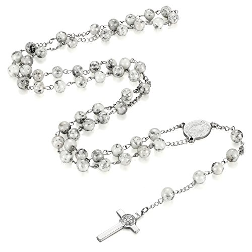 Flongo Edelstahl Anhänger Halskette Kugel Kette Glas Silber Weiß Jesus Kreuz Kruzifix Rosenkranz Klassiker Herren,Damen