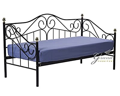 Exclusive Joseph Victorian Style 3FT Single Black Metal Day Bed Guest Sofa Bed Frame Bedstead - inexpensive UK sofabed shop.