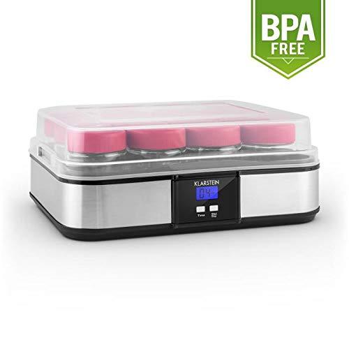 Klarstein Gaia Yogurtera (12 tarros 210 ml, volumen total 2,5 litros, temporizador, pantalla LCD, hasta 12 porciones yogur casero, máquina para preparar yogurt acero inoxidable, libre de BPA, negro