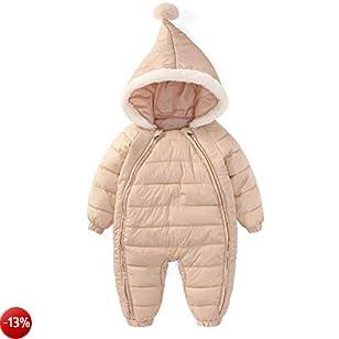 ARAUS Tuta da Neve Piumino Set Con Cappuccio Da Neonata Calda Pagliaccetto Bambina Snowsuit Zip up Inverno 0-36 Mesi