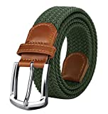 Maikun Braided Elastic Stretch Woven Belt with Leather Tip Nickle Pin 41in Buckle Army Green