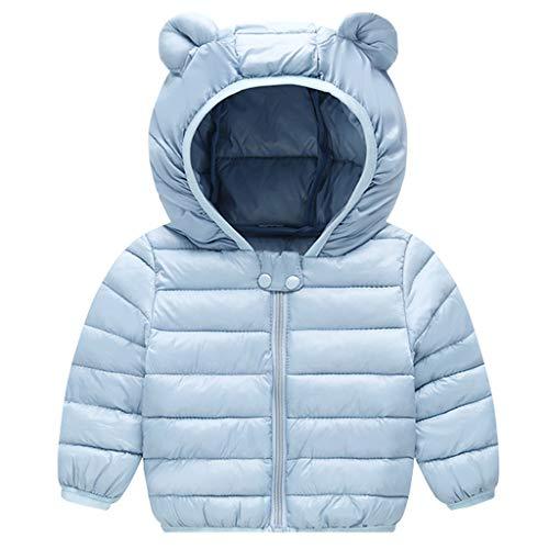 Bebé Chaqueta de Pluma Invierno Abrigo con Capucha Ligero Trajes Ropa de Calle Azul 6-12 Meses