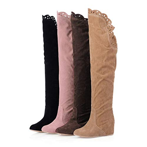 DANDANJIE Damen Overknee Stiefel Herbst Winter Komfort Stiefel Keilabsatz Runde Kappe Schuhe (Farbe : Rosa, Größe : 36 EU) (Komfort Stiefel)