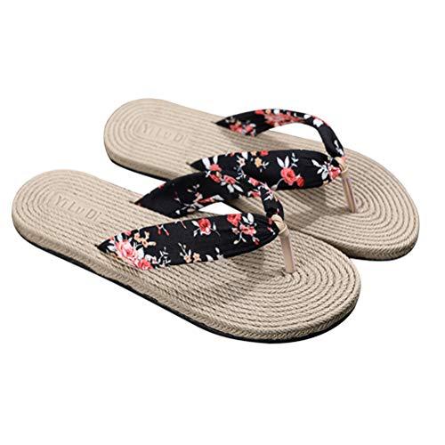 TENDYCOCO Infradito Pantofole da Donna Imitazione Paglia Cunei Piatti Floreali Scarpe da Spiaggia da Viaggio Bohemian Outgoing Sandali (Nero) Taglia 36