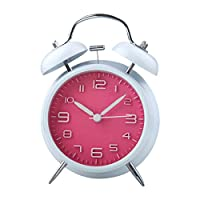 UQ Réveil matin Lumineux Silencieux Diamètre 10cm Rond Double Cloches Blanc+rose