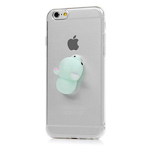 "iPhone 6 Plus /6S Plus Silikon Hülle YOKIRIN Crystal Clear Case Cover für iPhone 6 Plus /6S Plus (5.5"") Silikonhülle 3D Weiche Silikon Cartoon Figer Pinch Dekompressions Spielzeug Case Transparent TPU Blauer Bär"