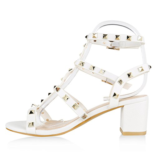 Sandaletten Quasten Blockabsatz Weiss Fransen Schuhe Damen High Steine Heels FHdxqdA