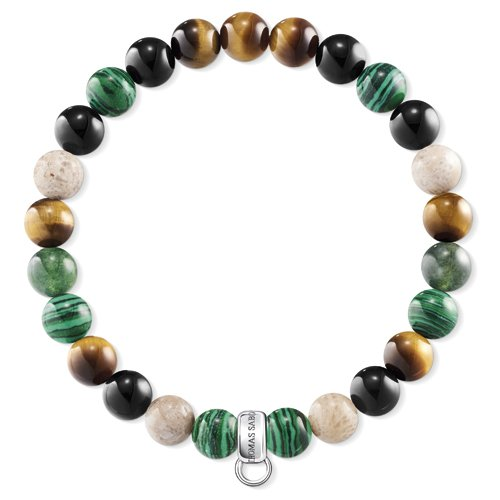 Thomas Sabo Damen-Charm-Armband 925 Sterlingsilber Jasper X0217-947-7-L16.5