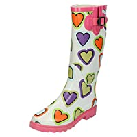 Spot On Girls Heart Print Wellington Boots