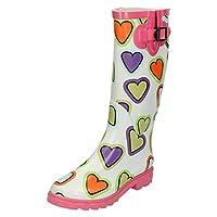 Spot On Girls Heart Print Wellington Boots