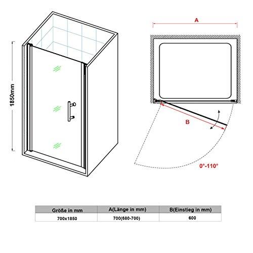Rahmenlose Duschtür aus Klarglas - 3