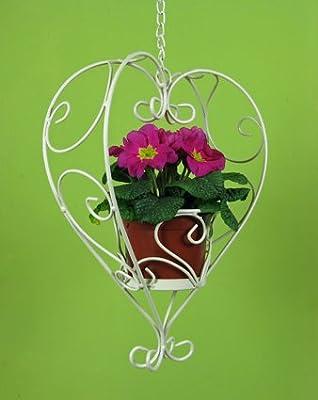 Blumenampel Herz zum Hängen, mit Kette, aus Eisen in Weiß
