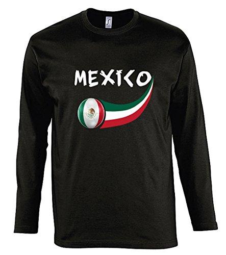Supportershop T-Shirt Mexiko L/S Herren, Schwarz, FR: M (Größe Hersteller: M) -