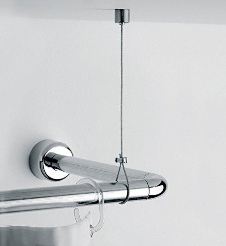 Deckenstütze für Duschvorhangstange, Messing und Edelstahl, individuell kürzbar