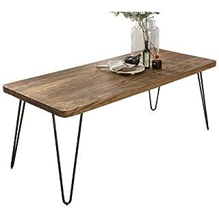 WOHNLING Esstisch Massivholz Sheesham 120 x 80 x 76 cm Esszimmer-Tisch Küchentisch modern Landhaus-Stil Holztisch mit Metallbeinen dunkel-braun Natur-Produkt Massivholzmöbel Echt-Holz unbehandelt