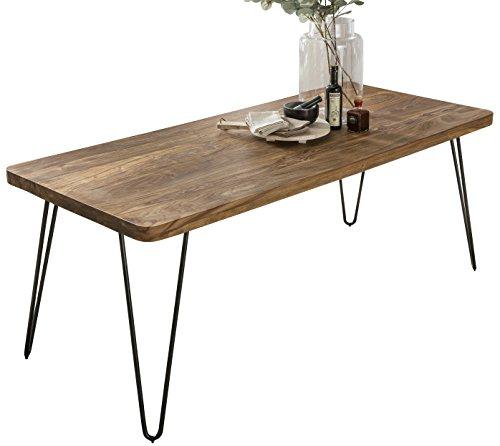 FineBuy Massiver Esstisch Harlem 160 x 80 cm Sheesham Massiv Holz | Esszimmertisch Massivholz mit Design Metall Beinen | Holztisch Tisch Esszimmer | Küchentisch