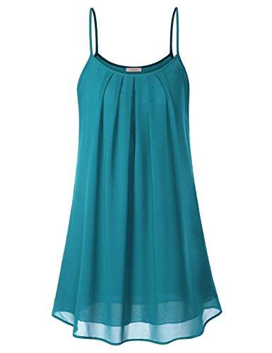 WAJAT Damen Spaghetti Chiffonkleid Blumen Sommer Minikleid Strand A-Linie Blau XL