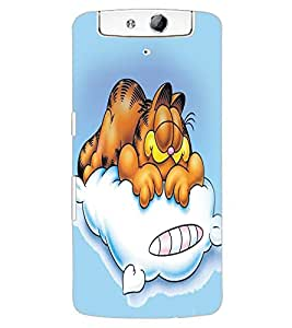 ColourCraft Funny Cartoon Cat Design Back Case Cover for OPPO N1