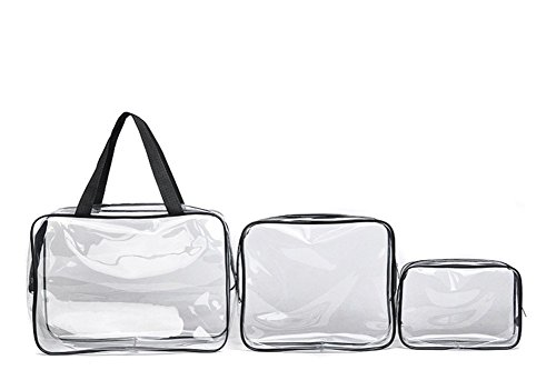 Qingsun 3pcs/Set PVC Sacs Cosmetiques, Transparent Transparent Sac Maquillage, Multifonction Trousse de Maquillage(Blanc)