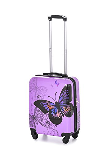 Luggagehub - Valigia rigida con 4 ruote, bagaglio a mano, da cabina, porta PC Purple Butterfly misura da cabina