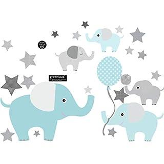 greenluup Wandsticker Elefanten Sterne Blau Grau Kinderzimmer Babyzimmer Baby Kinder Junge Jungen (w28)