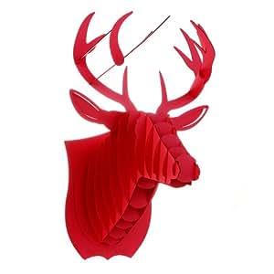 Puzzle 3D Tridimensionale Con Motivo Animale Testa di Cervo o Cerbiatto Rudolph La Renna Accessorio Casa Ufficio Camera Bambini Decorazione da Appendere al Muro Gioco da Tavolo Giocattolo (Rosso)