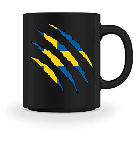 PlimPlom Schweden Tasse Land Flagge Design Kaffeetasse Spaßgeschenk Spruch Geschenk Idee - Tasse -M-Schwarz