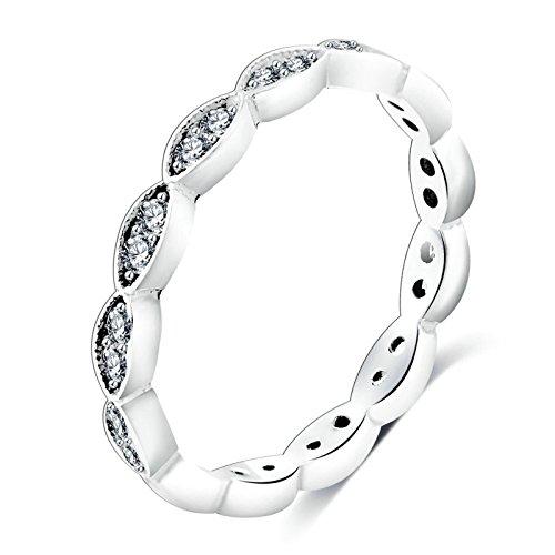 Epinki Ringe Solitärring für Damen Cubic Zirkonia Kristall Solitärring Geometrie Blumen Form Silber Gr.60 (19.1)