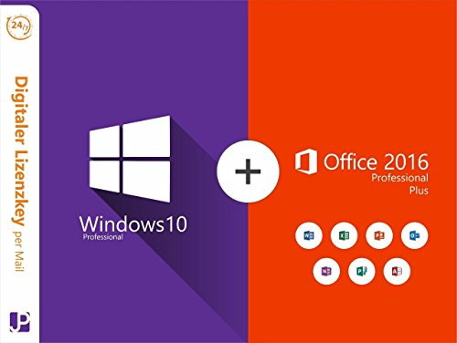 Windows 10 Professional 32/64 Bit + Office 2016 Professional Plus |1 PC Lizenz | Download Original Microsoft Windows 10 Professional und Office 2016 Professional Plus Produkt Key Digital 24/7 per Mail von JP Trading (Windows Enterprise)