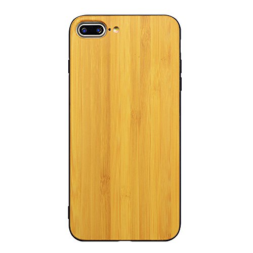 Holzhülle iPhone 7 Plus 5,5 Zoll - Ultraslim Handyhülle Echtem Holz Schutz Hülle Schale mit PC Bumper Hart Back Cover Case Etui für Apple iPhone 7 Plus Smartphone (Kirschholz) Goldbambus