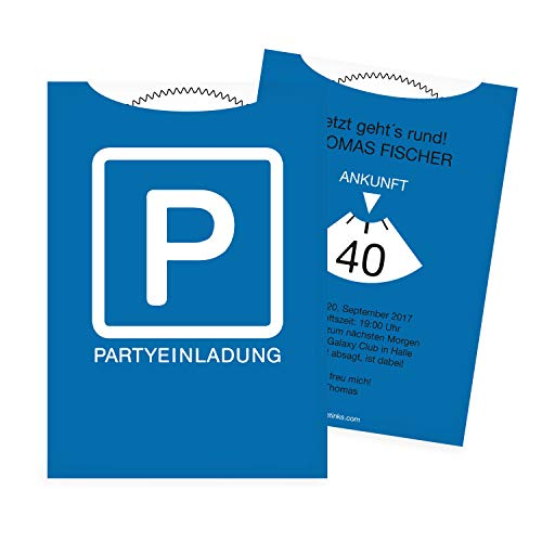 Einladungskarten zum Geburtstag als Parkscheibe   20 Stück   Inkl. Druck Ihrer persönlichen Texte   Lustige Geburtstagseinladungen   Individuelle Einladungen   Karte Einladung