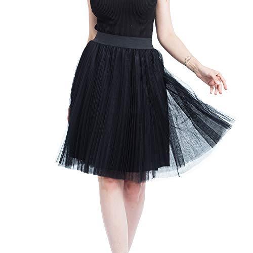 n 50er Rockabilly Petticoat Vintage Frauen 4 Schichten Mesh Tüllrock Gefaltete Prinzessin Rock Mesh Bubble Skirt Petticoat Reifrock Unterrock Underskirt Crinoline Röcke ()