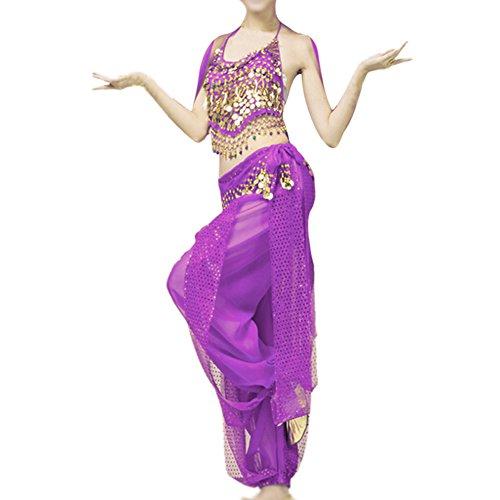 Zwei Stück Indische Kostüm - Cikuso Bauchtanz Kleidung Kostuem Bauchtanz Set indischen Tanz Kleidung 2 Stueck Oberteile & Hose (lila)